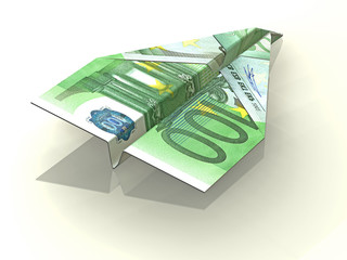 3d concept illustration of folded Euro
