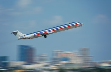 Passenger jet taking off with motion blur
