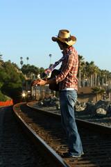 Cowboy on tracks