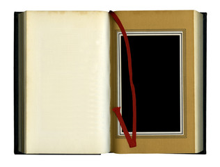 Open old book isolated with a red ribbon bookmark. over white ba