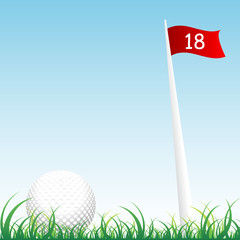 Golf ball with flag and pole of hole number eighteen