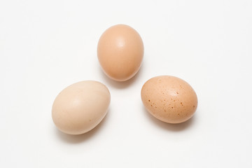 Three eggs isolated closer view