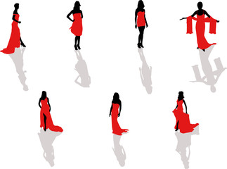 girl in the red dress silhouettes