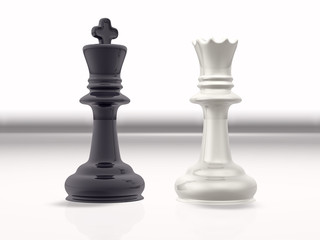 3d concept illustration of a chess game