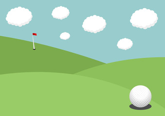 Golf ball on the grass with flag and pole on the background