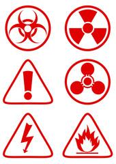 Collection de panneaux de danger rouge