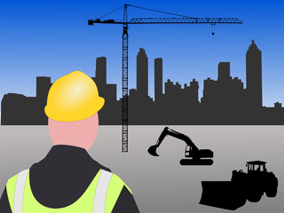 Atlanta building site with worker equipment and crane