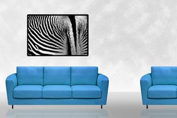 Blue sofa and Zebra art