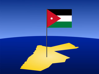 map of Jordan with flag