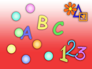 colored abc's on a red background