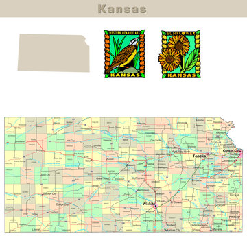 USA states series: Kansas. Political map with counties