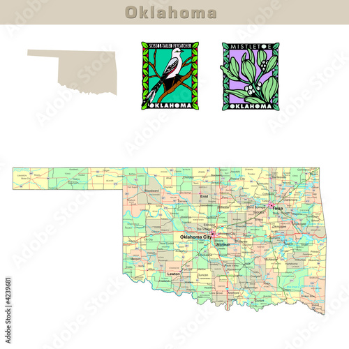 QuotUSA States Series Oklahoma Political Map With Counties