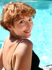 Woman by the pool