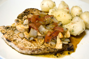 Grilled Swordfish topped with Mediterranean Salsa