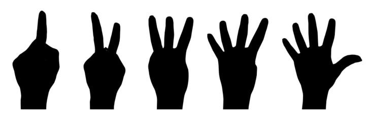Silhouette zählender Hände von eins bis fünf