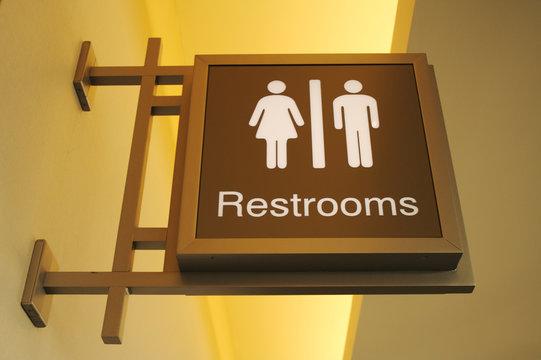 Retro Style Women & Men Bathroom Sign