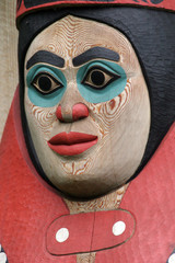 Carved face from totem pole