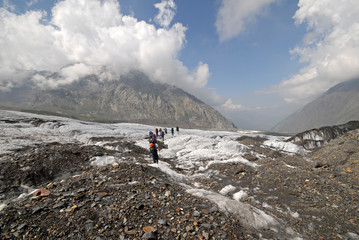 Trekking  on a glacier.