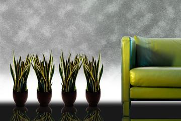 Sofa and plants