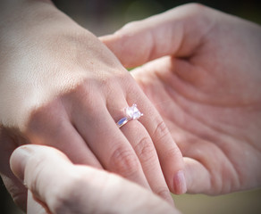 A newly engaged couple showing off the engagement ring
