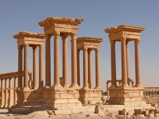 Four ancient columns, archaeological site, ruins, Palmyra, Syria