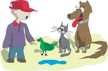 The boy trains a dog, a cat and a bird