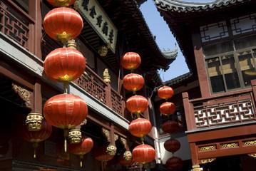 Red lanterns at Yu Gardens in Shanghai
