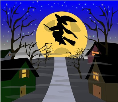 Witch Flying Over Village