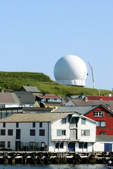 The  inflatable dome of the  radar in Vardø, Northern Norway,