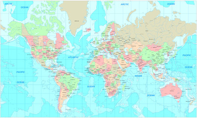 Obraz premium Polityczna mapa świata