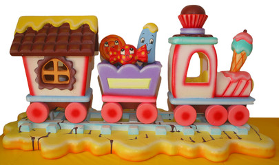 decorative foam train for a kid's birthday party
