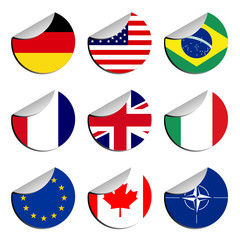 Promotional stickers with different flags