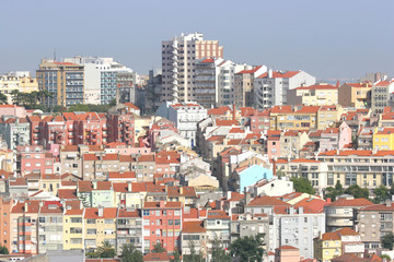 Foto op Canvas Barcelona city landscape with several buildings and houses