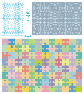 Jigsaw puzzle patterns, vertical and horizontal, 96 pieces