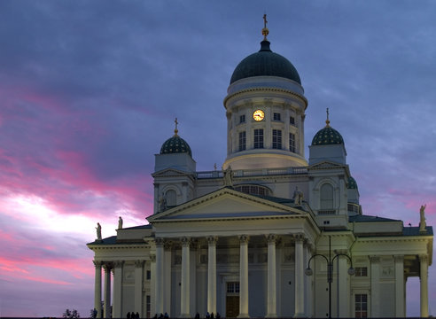 Helsinki cathedral in sunset