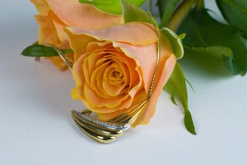 Gold necklace and roses