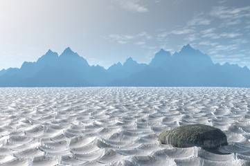 3D render of Death Valley National Park with dry, cracked ground