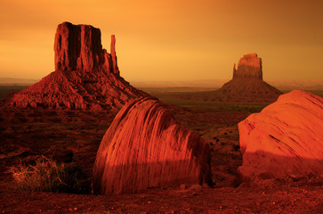 Acrylic Prints Brown Sunrise at Monument valley