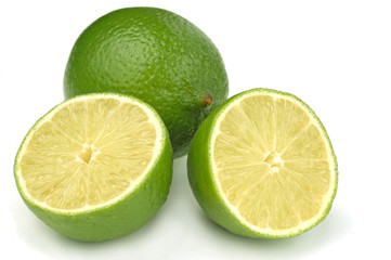Limes on a white background.