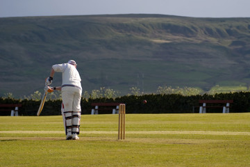 Cricket player missing ball