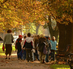 School kids on a trip in the park in autumn