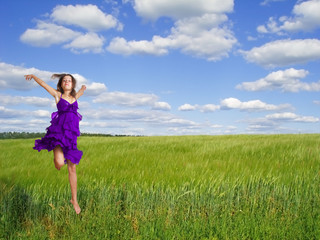 spring girl on background field
