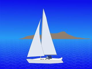 yacht with island