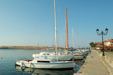 The yachts in the sea bay