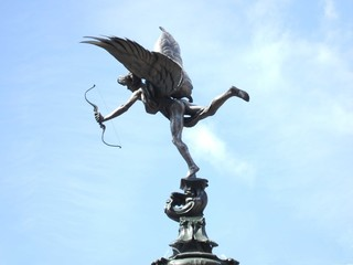 The Eros Statue at Piccadilly Circus in London.