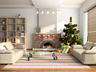Christmas interior 3D rendering