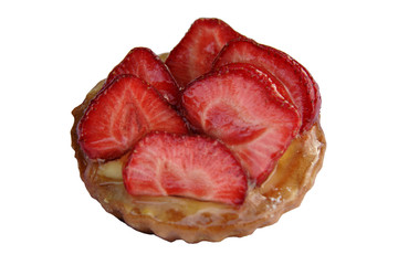 Pastry small basket with a strawberry