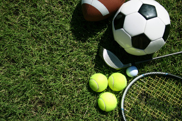 Sports Equipment on Grass