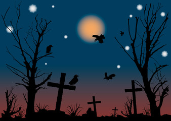 Halloween night scene. A vector illustration.