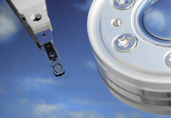 """""""free space"""" - Close up of a hard-drive with sky on the disk"""